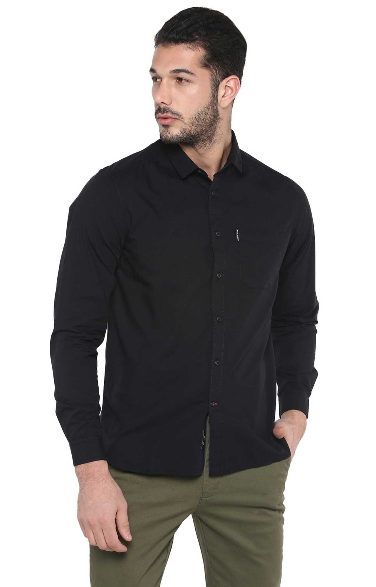 RED CHIEF | Black Solid Casual Shirt