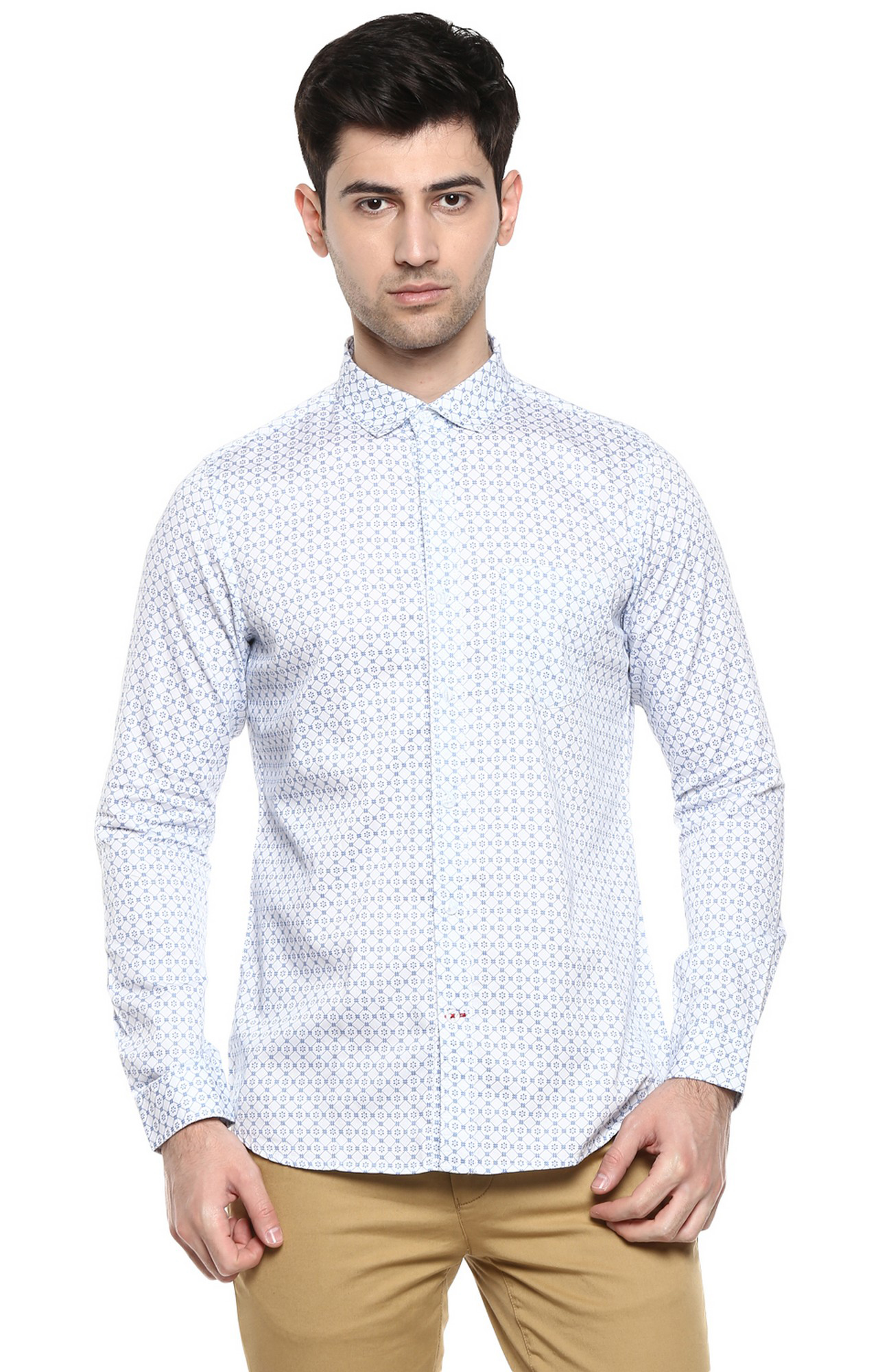 RED CHIEF   White & Navy Printed Casual Shirt