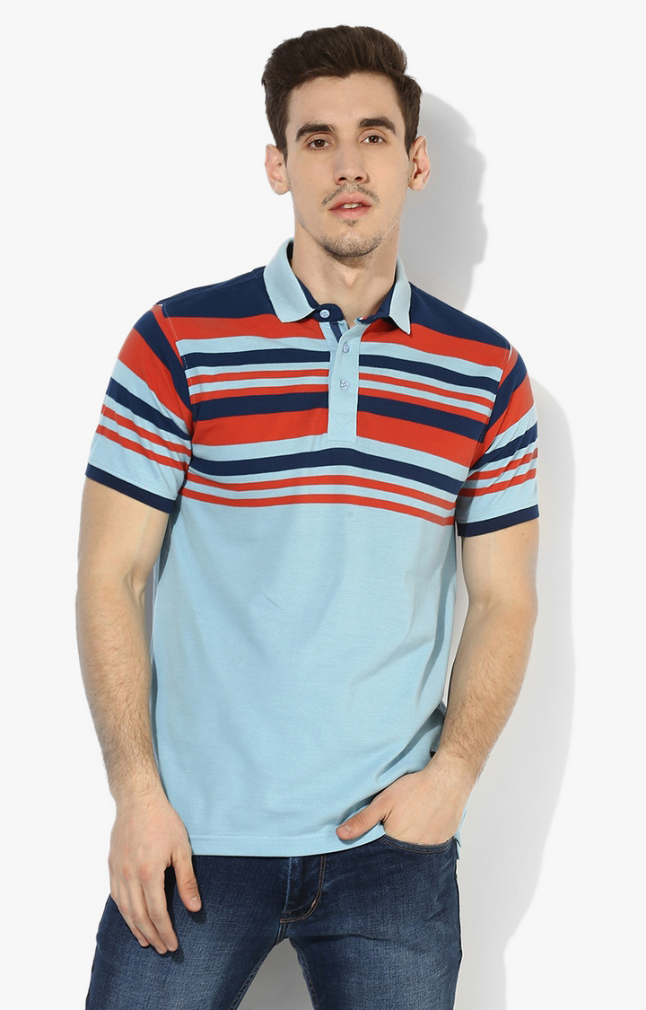 RED CHIEF | Blue & Red Striped Polo T-Shirt