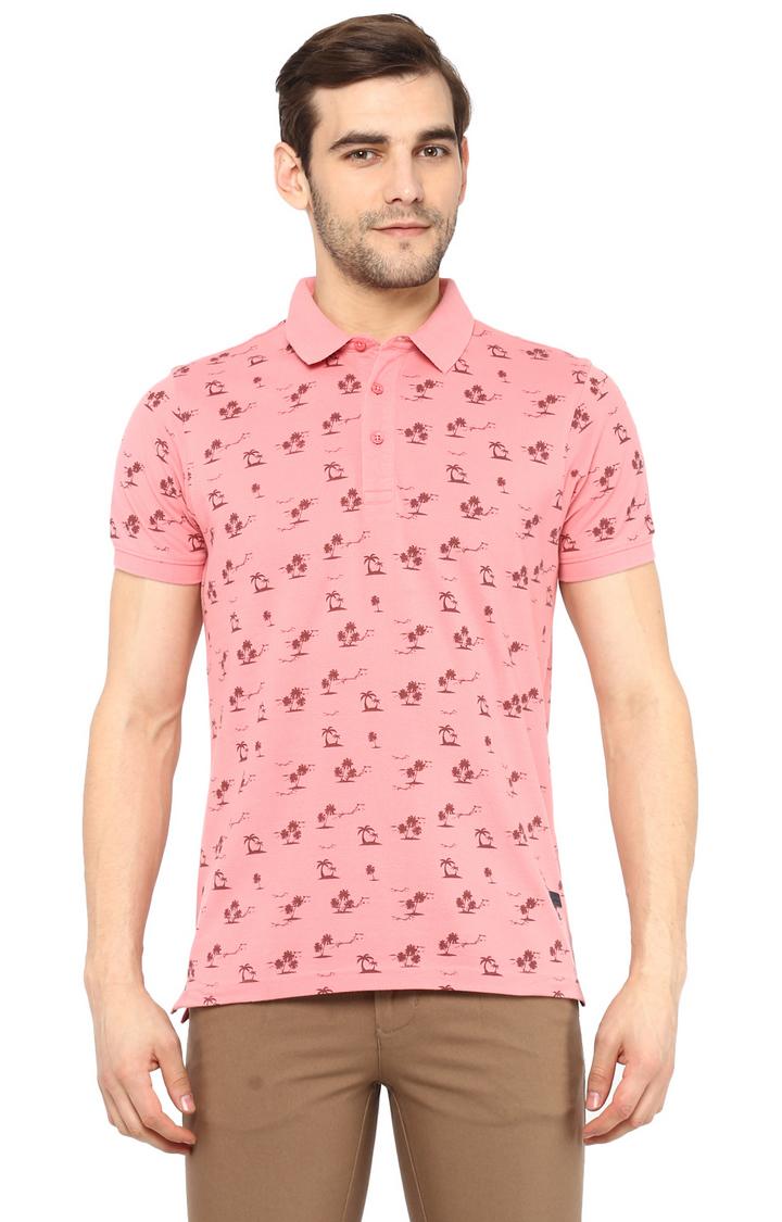 RED CHIEF | Peach Printed Polo T-Shirt