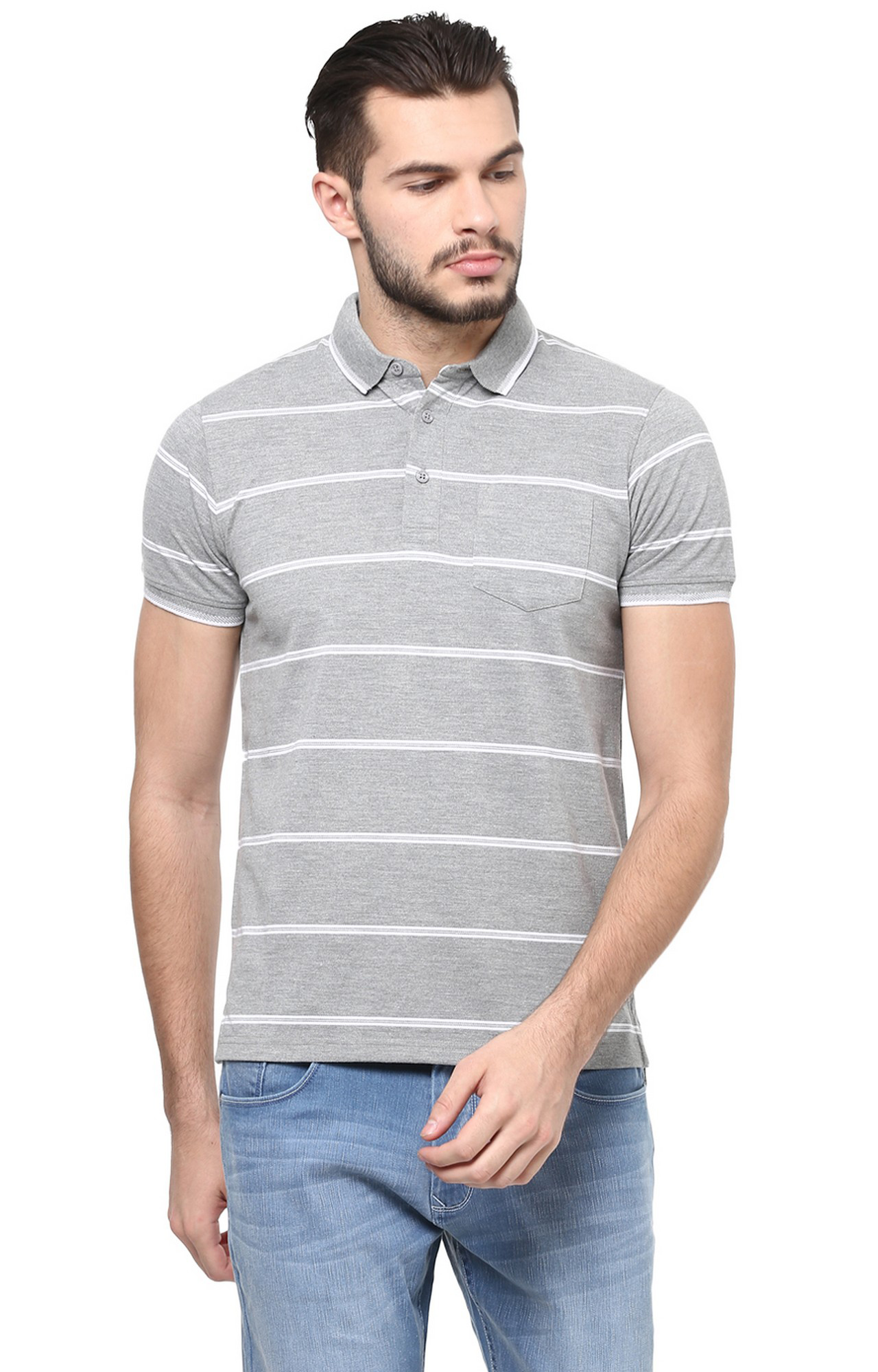 RED CHIEF | Grey Striped Polo T-Shirt