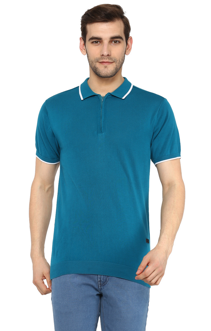 RED CHIEF | Blue Solid Polo T-Shirt