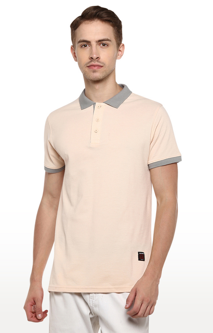 RED CHIEF | Beige Solid Polo T-Shirt