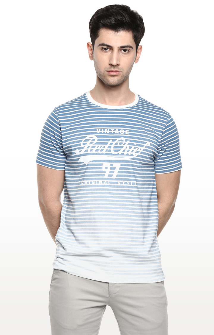 RED CHIEF   Blue Striped T-Shirt