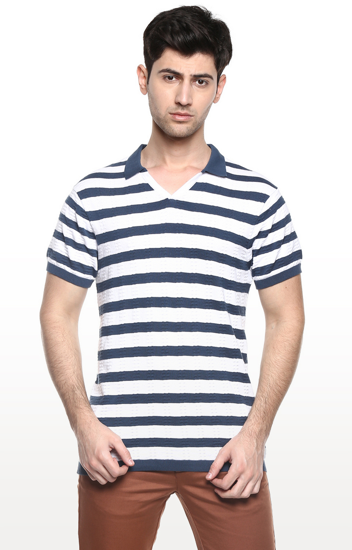 RED CHIEF   Blue & White Striped T-Shirt