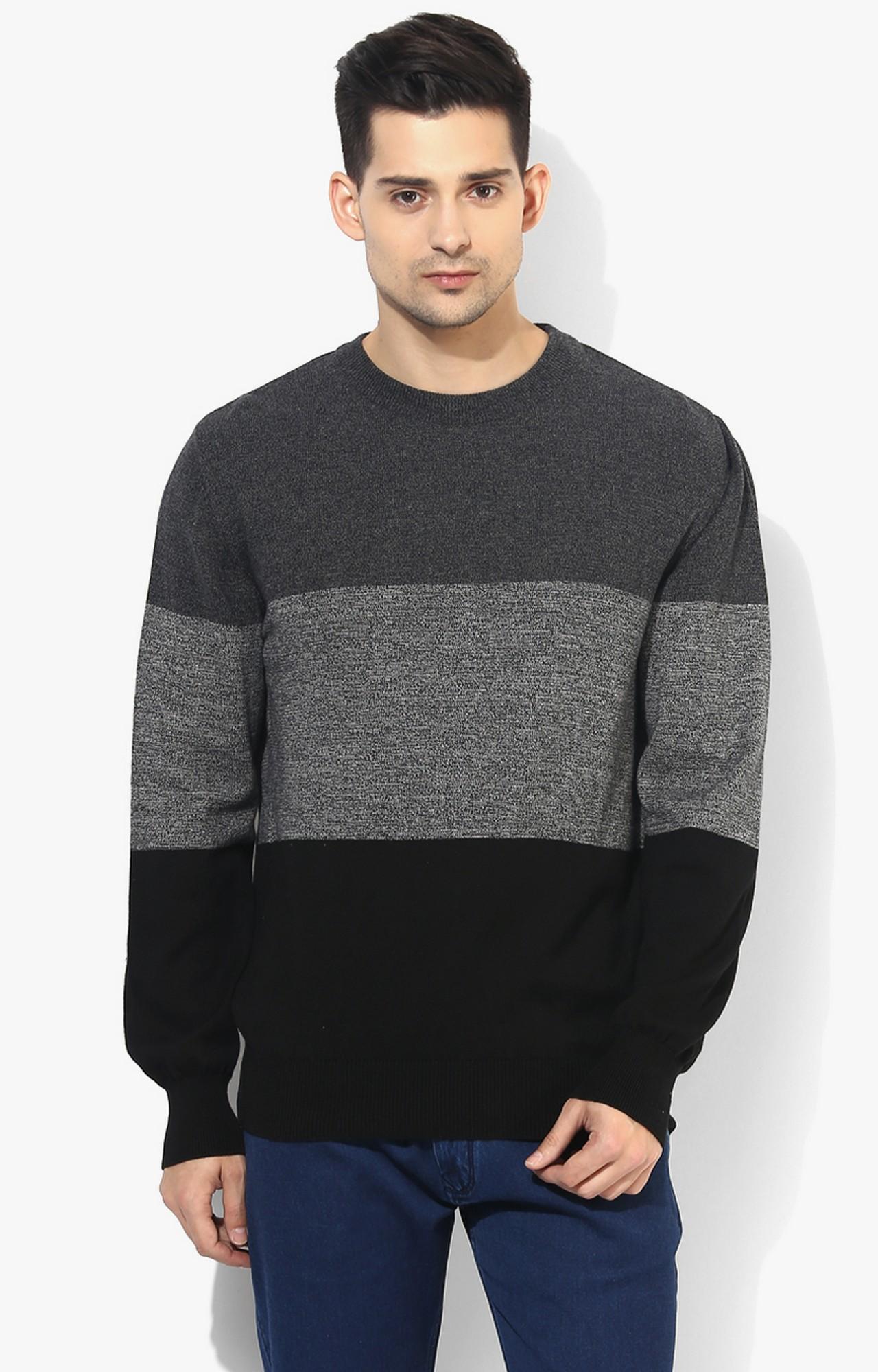 RED CHIEF | Black & Grey Colourblock Sweater