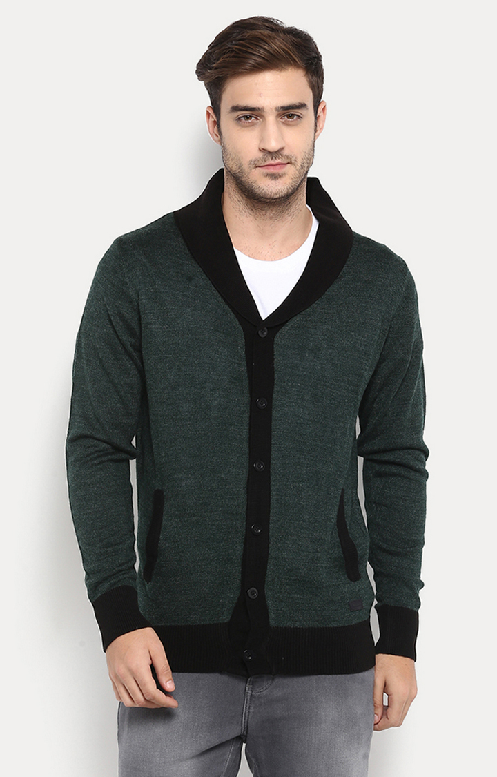 Green & Black Solid Sweater