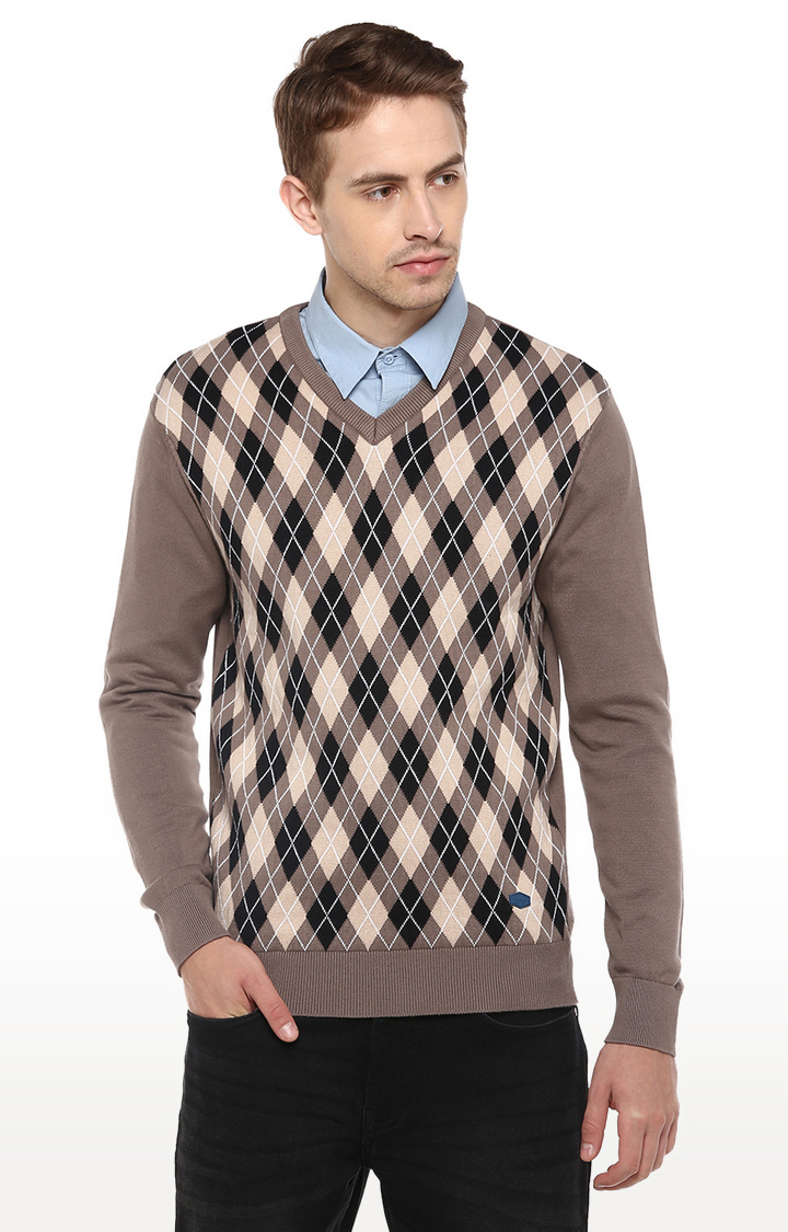 RED CHIEF   Beige Checked Sweater