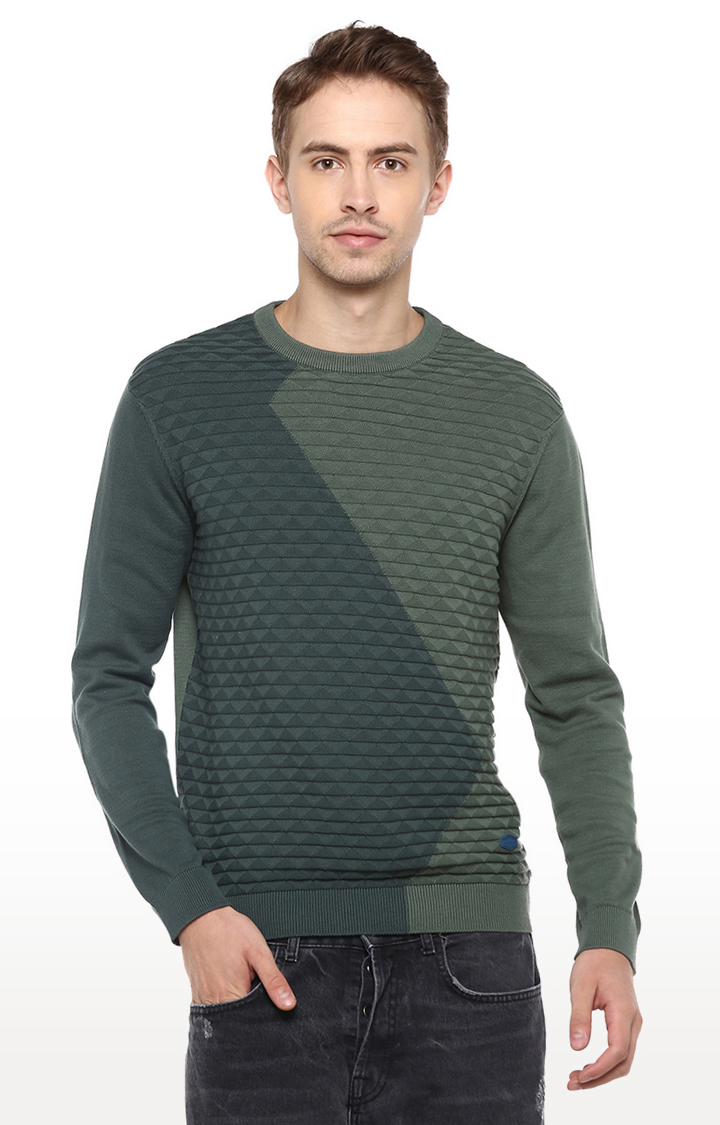 RED CHIEF | Green Colourblock Sweater