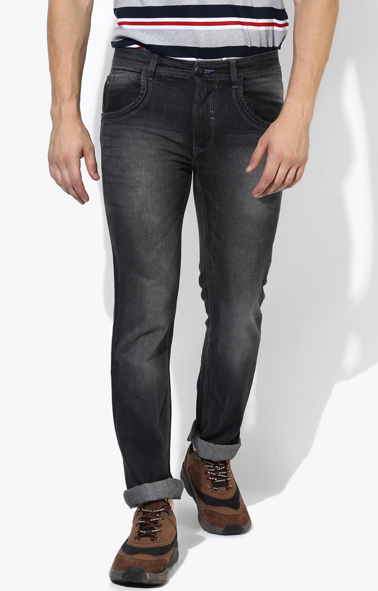 RED CHIEF   Dark Grey Solid Straight Jeans
