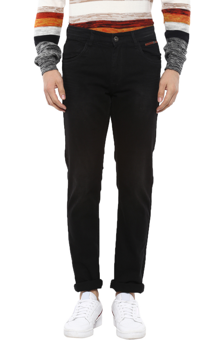 RED CHIEF | Black Solid Straight Jeans