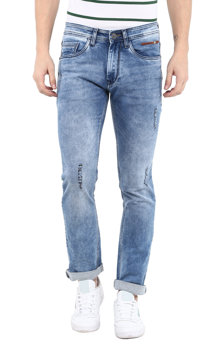 RED CHIEF | Blue Ripped Straight Jeans