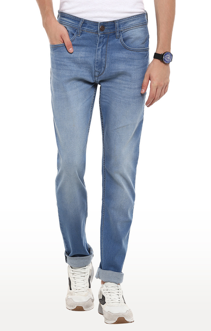 RED CHIEF | Blue Solid Narrow Fit Jeans