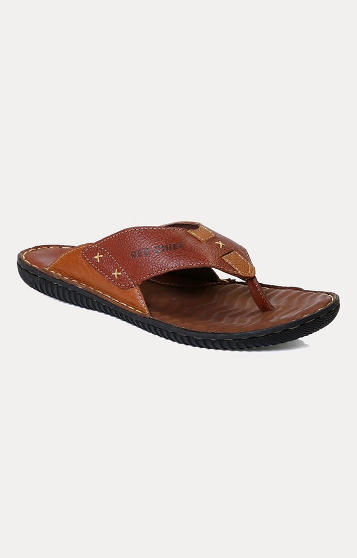 RED CHIEF | RC393 399 - Dark Tan Slippers