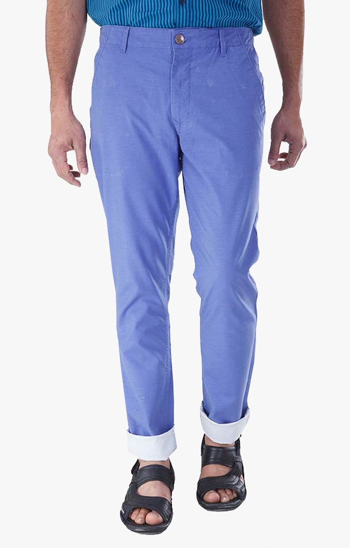 RED CHIEF | Blue Solid Straight Chinos