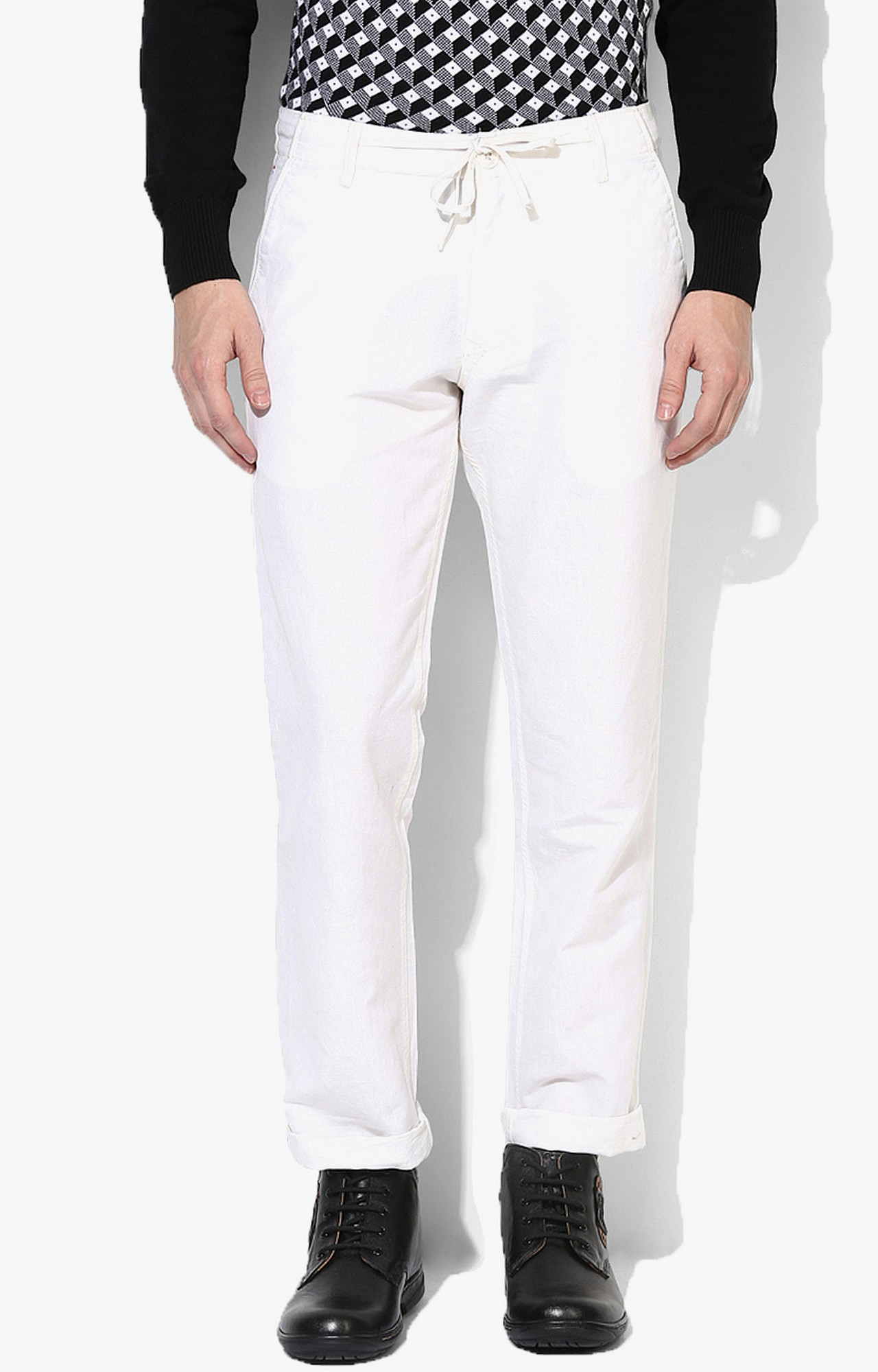 RED CHIEF | White Solid Straight Chinos