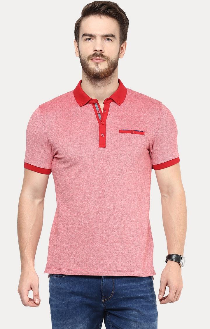 celio   Red Melange Polo T-Shirt