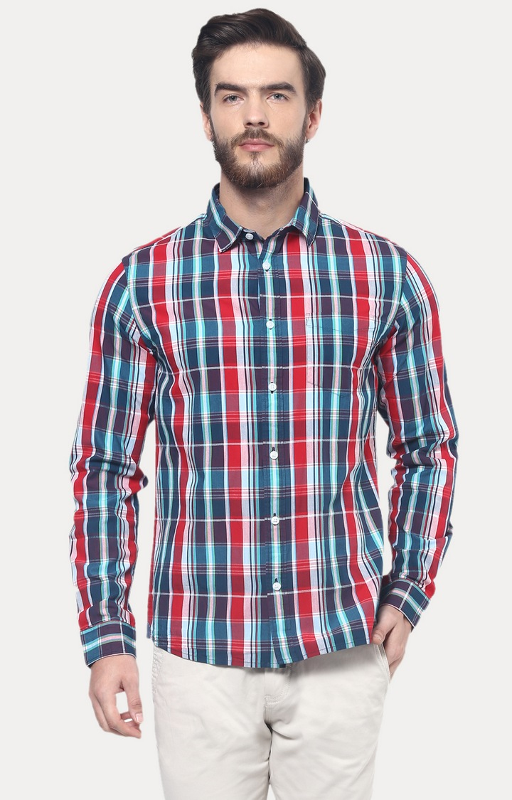 celio   Red Checked Casual Shirt