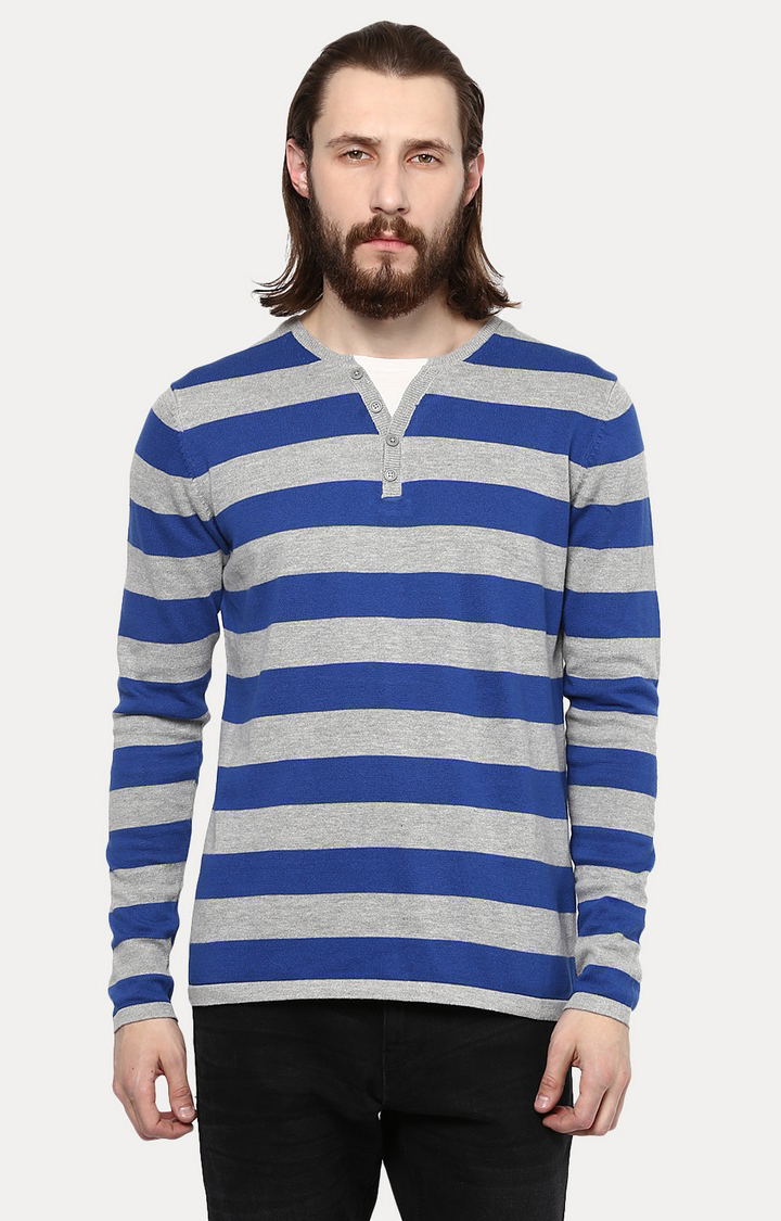 celio | Blue and Grey Striped T-Shirt