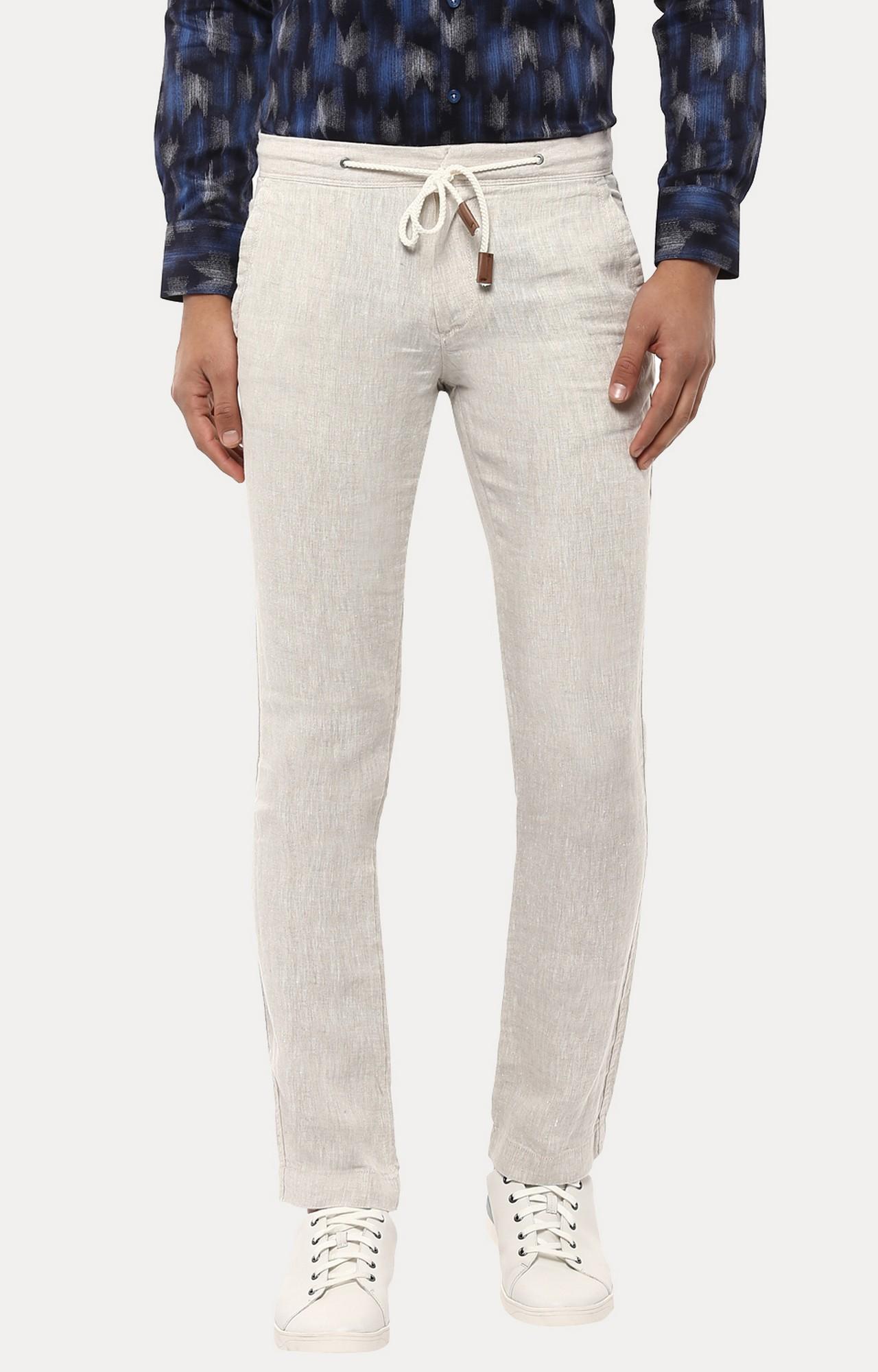 celio   White 100% Linen Straight Pants