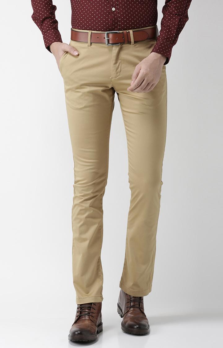 celio | Beige Solid Slim Fit Trousers
