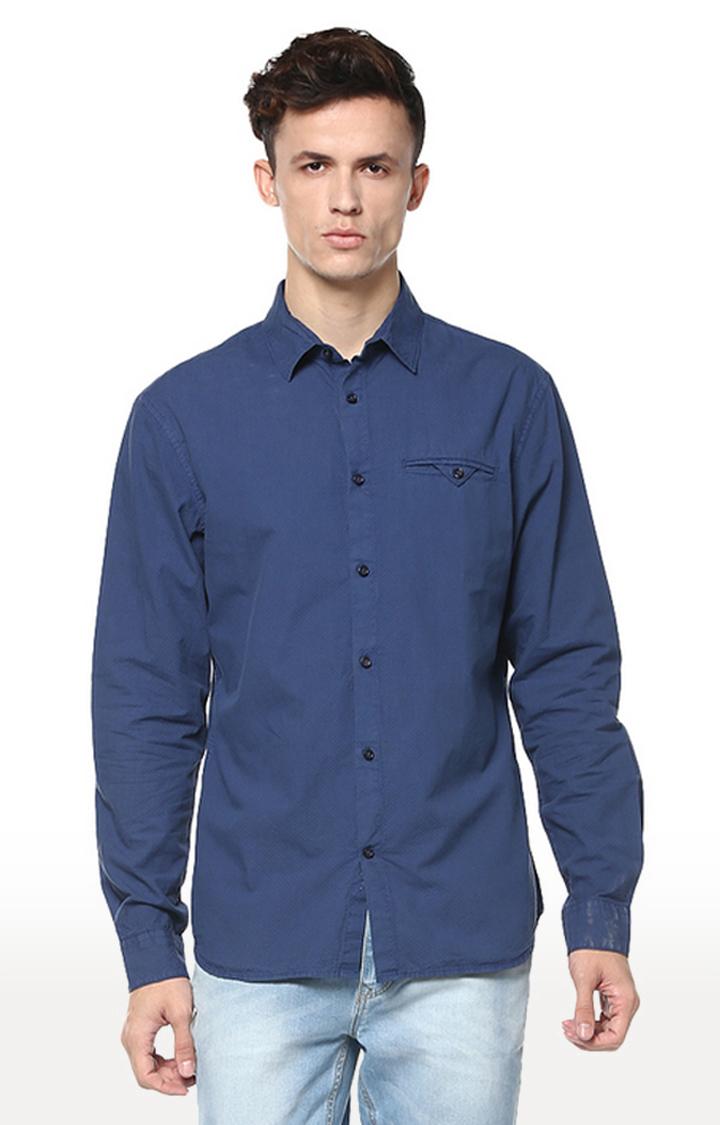 celio | Indigo Solid Regular Fit Casual Shirt