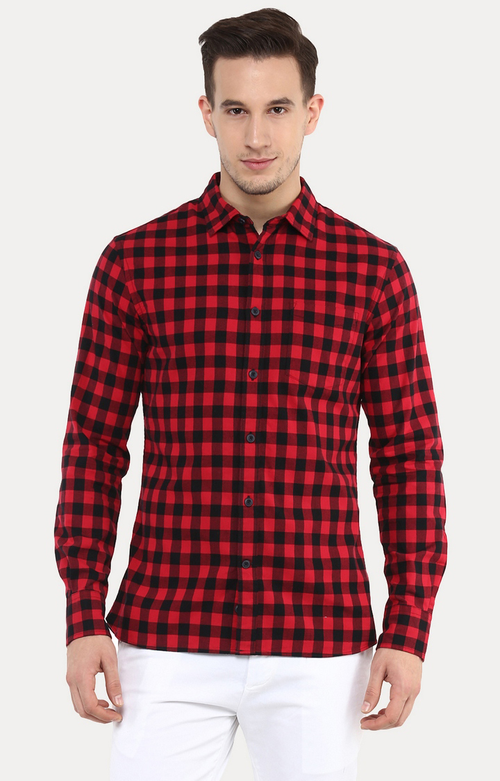 celio | Jaswag Red Checked Casual Shirt