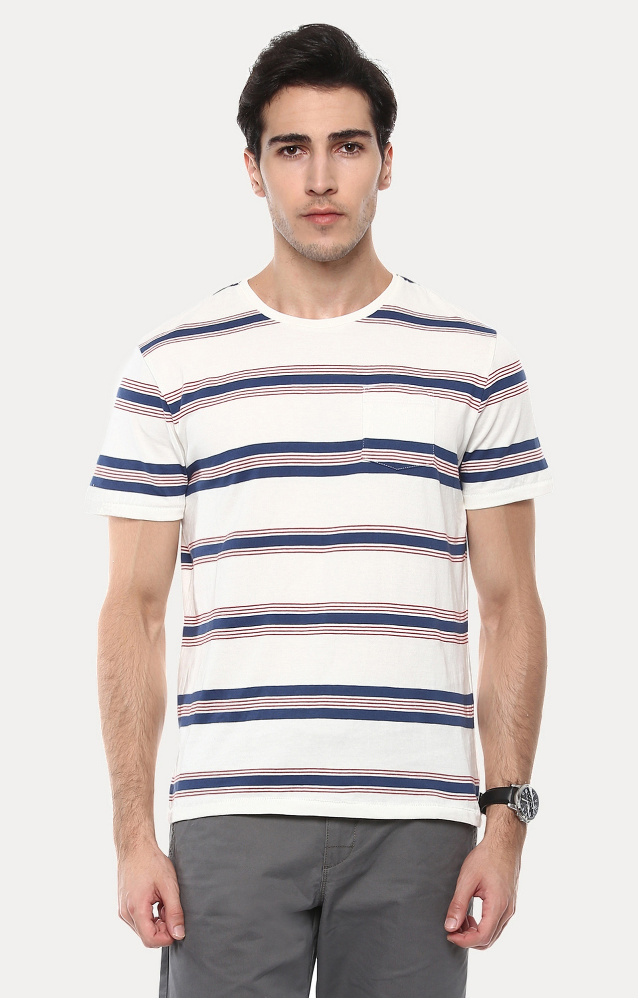 celio   Jebritain White and Blue Striped T-Shirt
