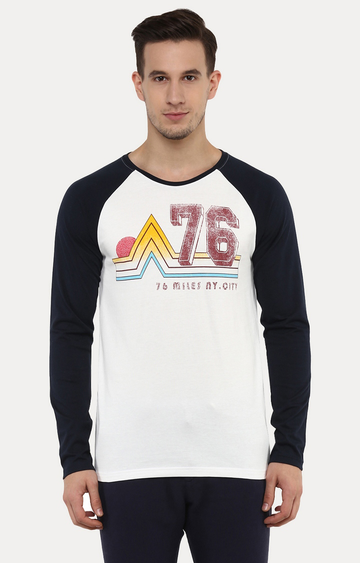 celio | Jemiles White and Navy Printed T-Shirt