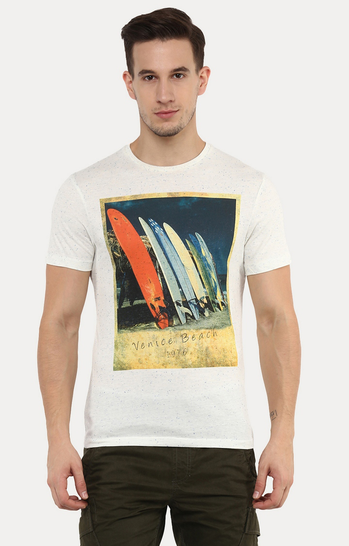 celio   Jevibes White Printed T-Shirt