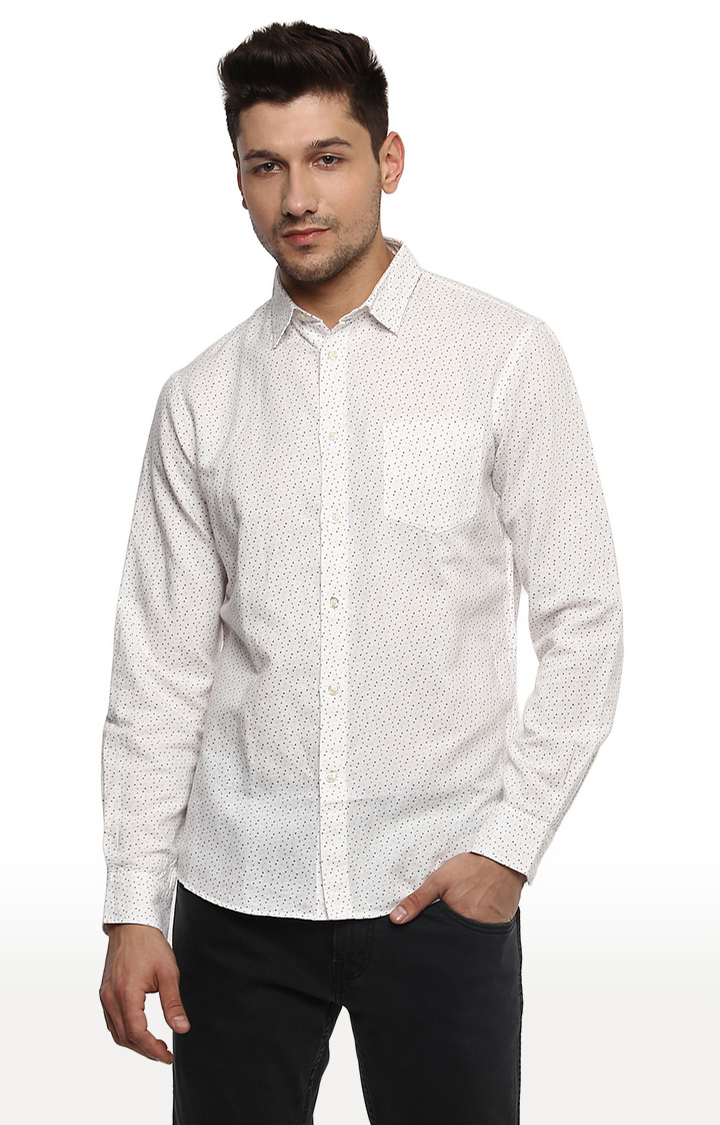 celio | Off White Printed Regular Fit Casual Shirt
