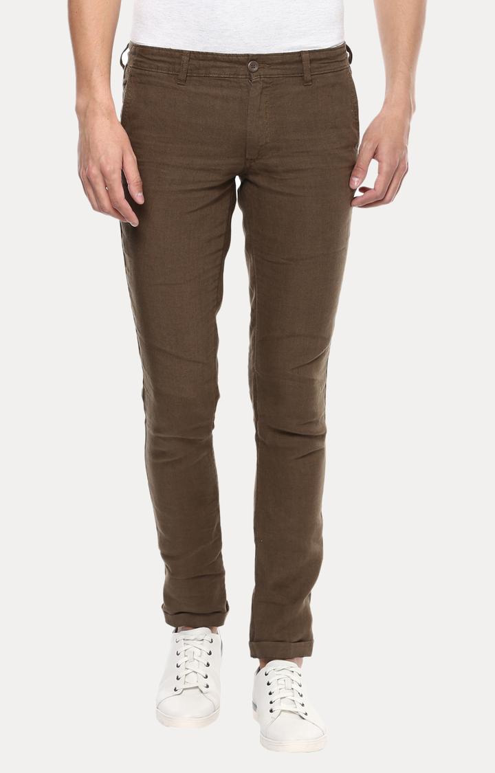 celio | Brown 100% Linen Straight Pants