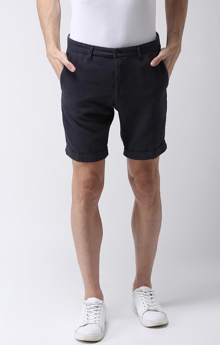 celio   Blue Solid Shorts