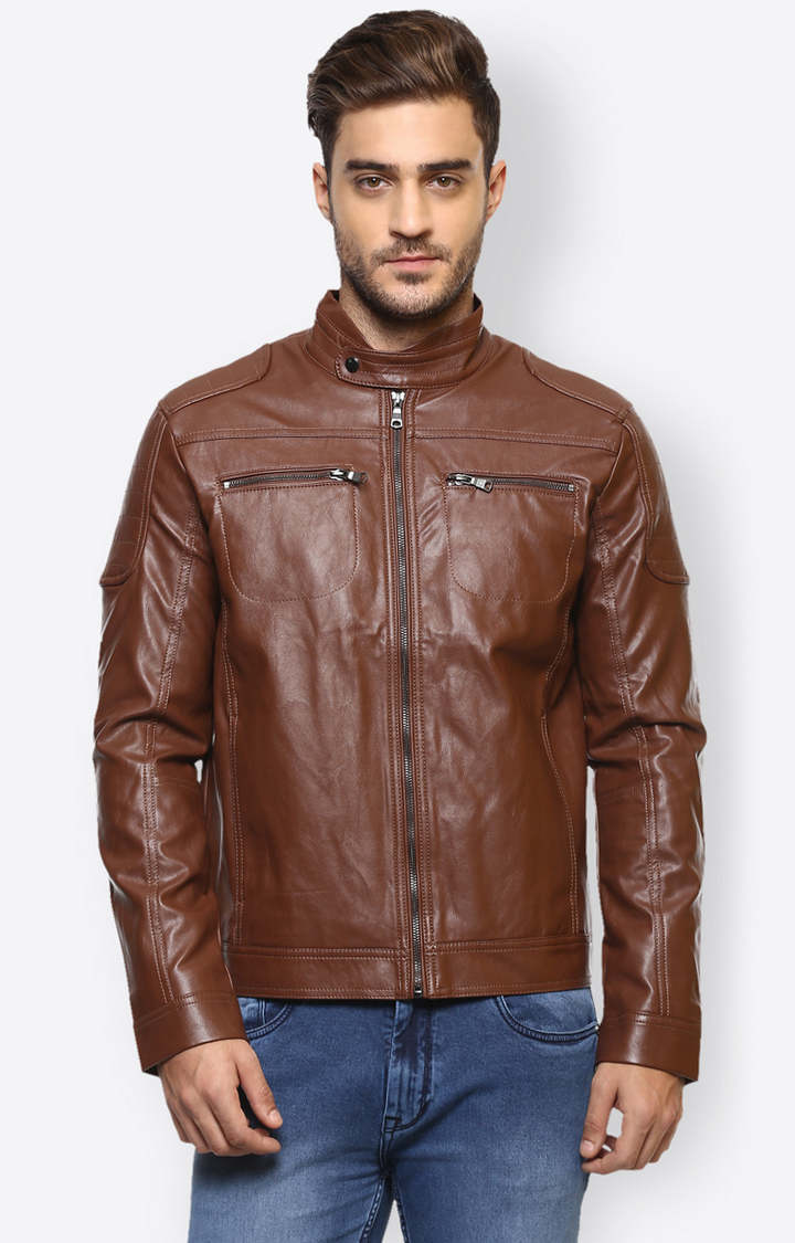 celio   Brown Solid Leather Jacket