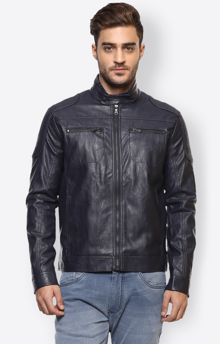 celio | Navy Solid Leather Jacket