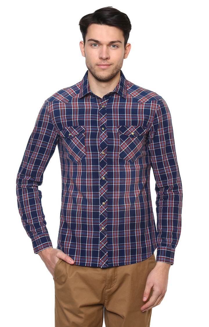 celio | Sea Blue Solid Casual Shirt