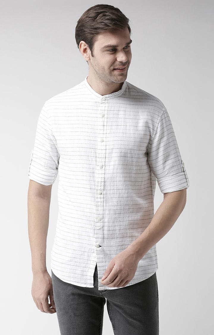 celio | White Striped Regular Fit Casual Shirt