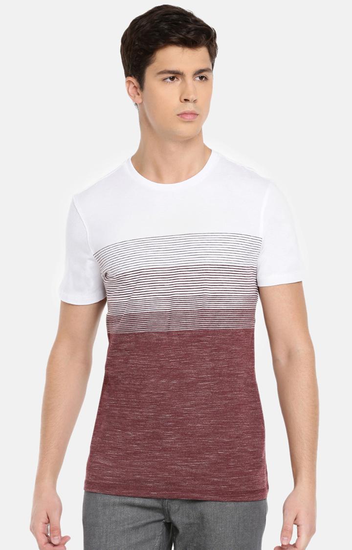 celio   White and Wine Striped T-Shirt