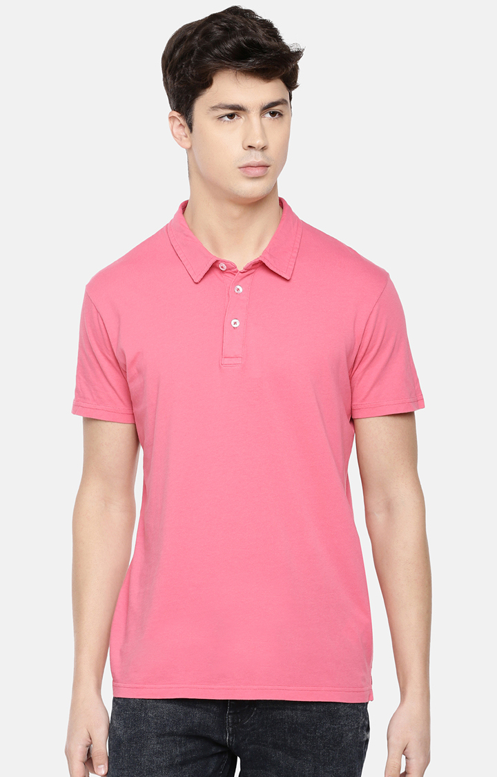 celio | Pink Solid Polo T-Shirt