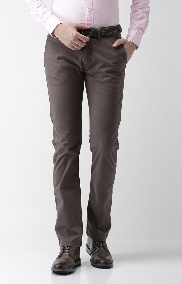 celio | Brown Solid Straight Fit Chinos