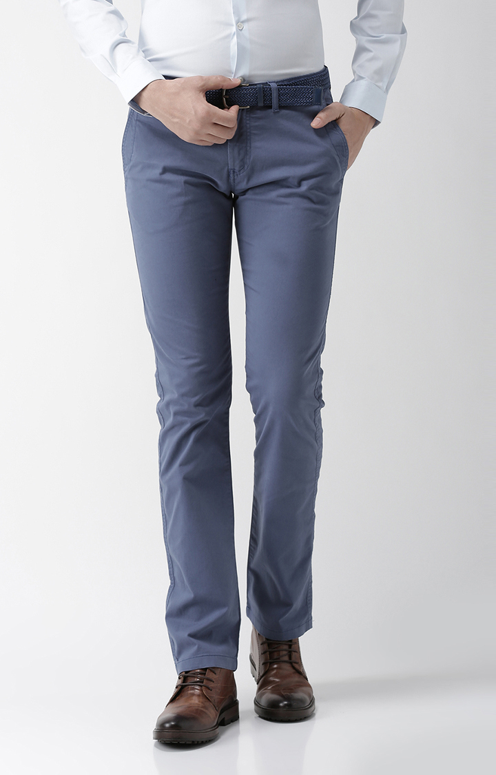 celio   Blue Solid Straight Fit Chinos