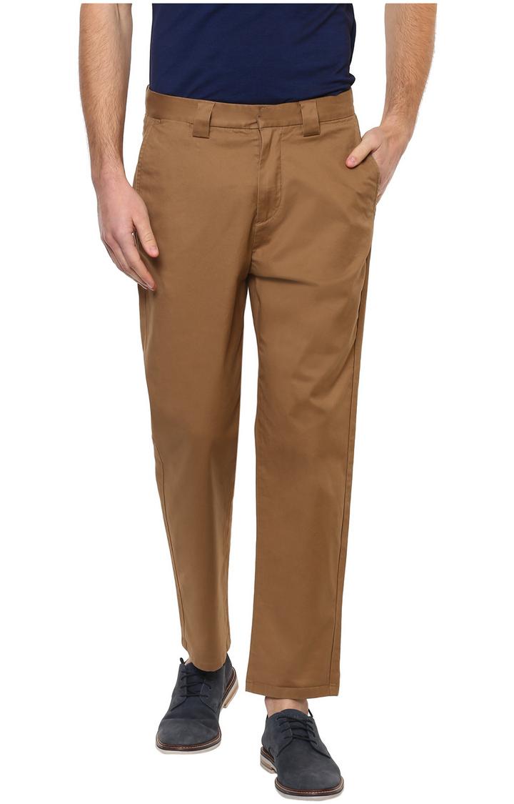 celio   Brown Solid Regular Fit Chinos