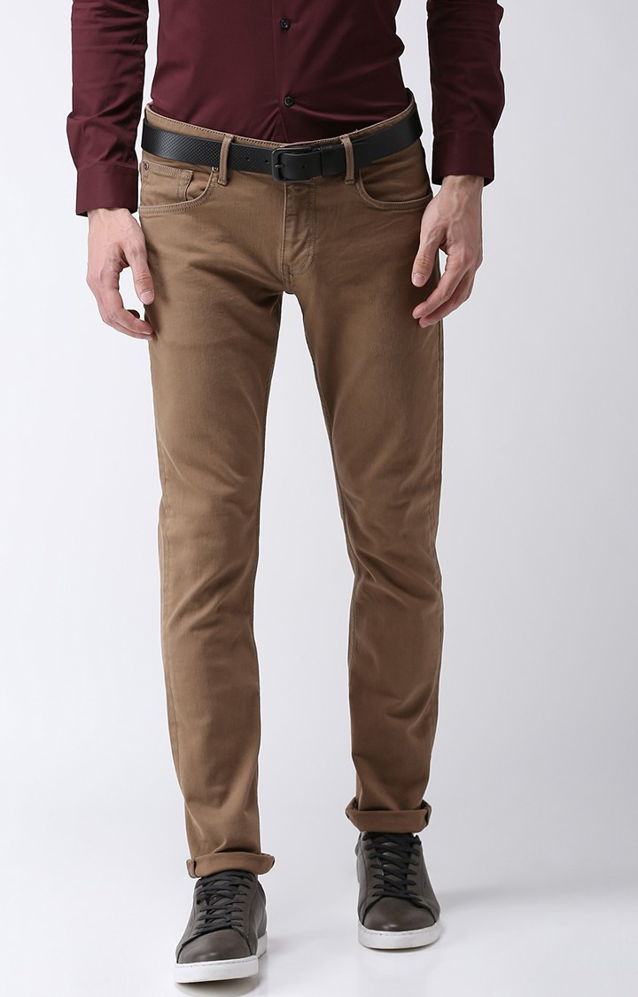 celio | Brown Solid Slim Fit Jeans