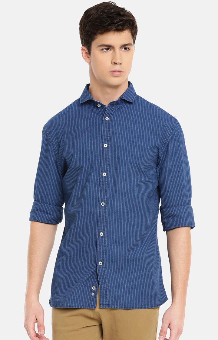 celio | Blue Striped Casual Shirt