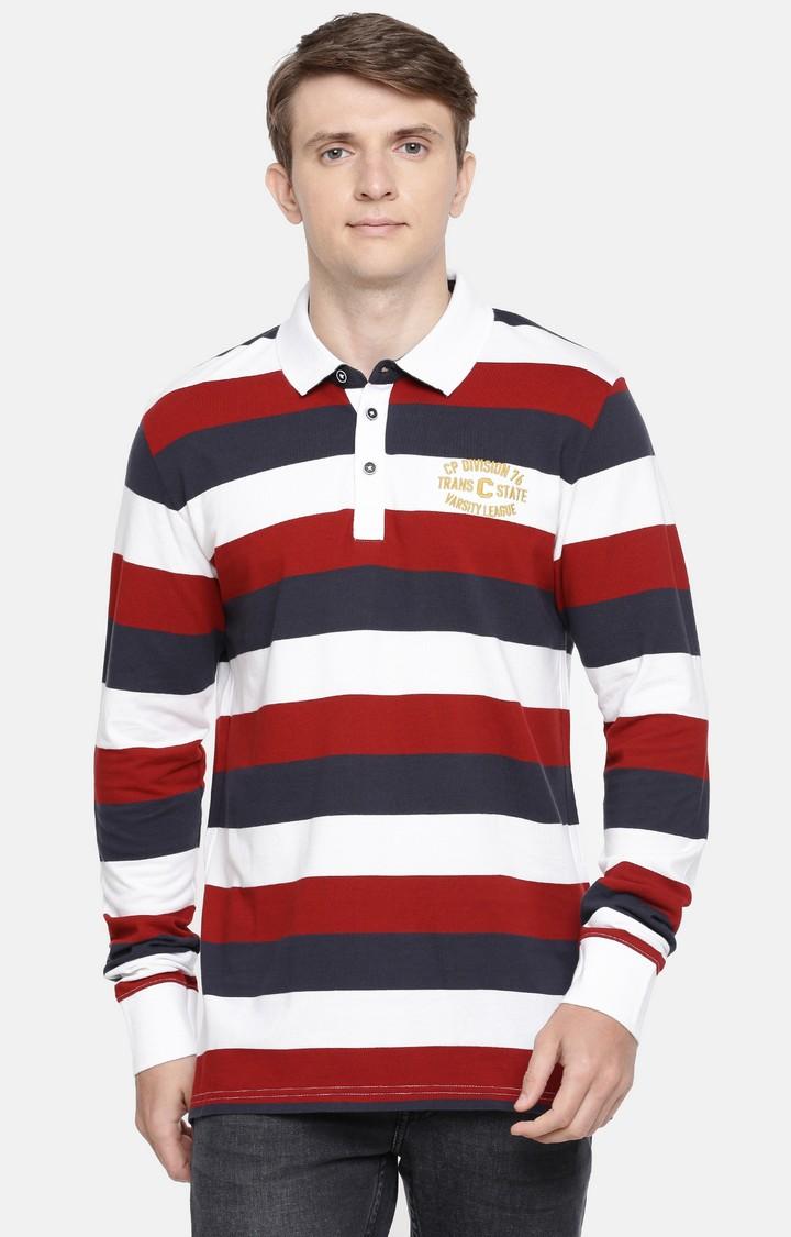 celio | Multicoloured Striped Polo T-Shirt