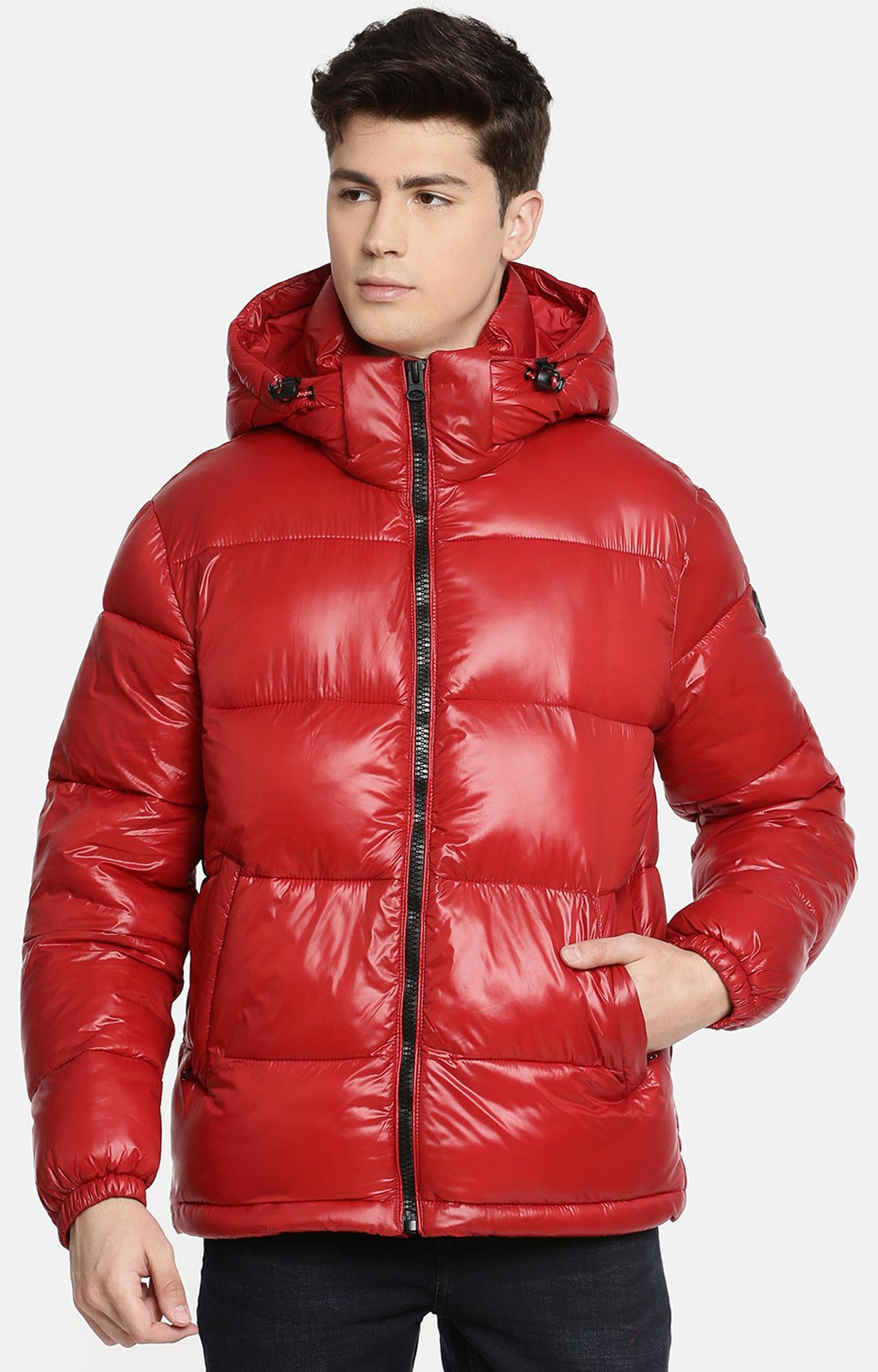 celio | Red Solid Bomber Jacket