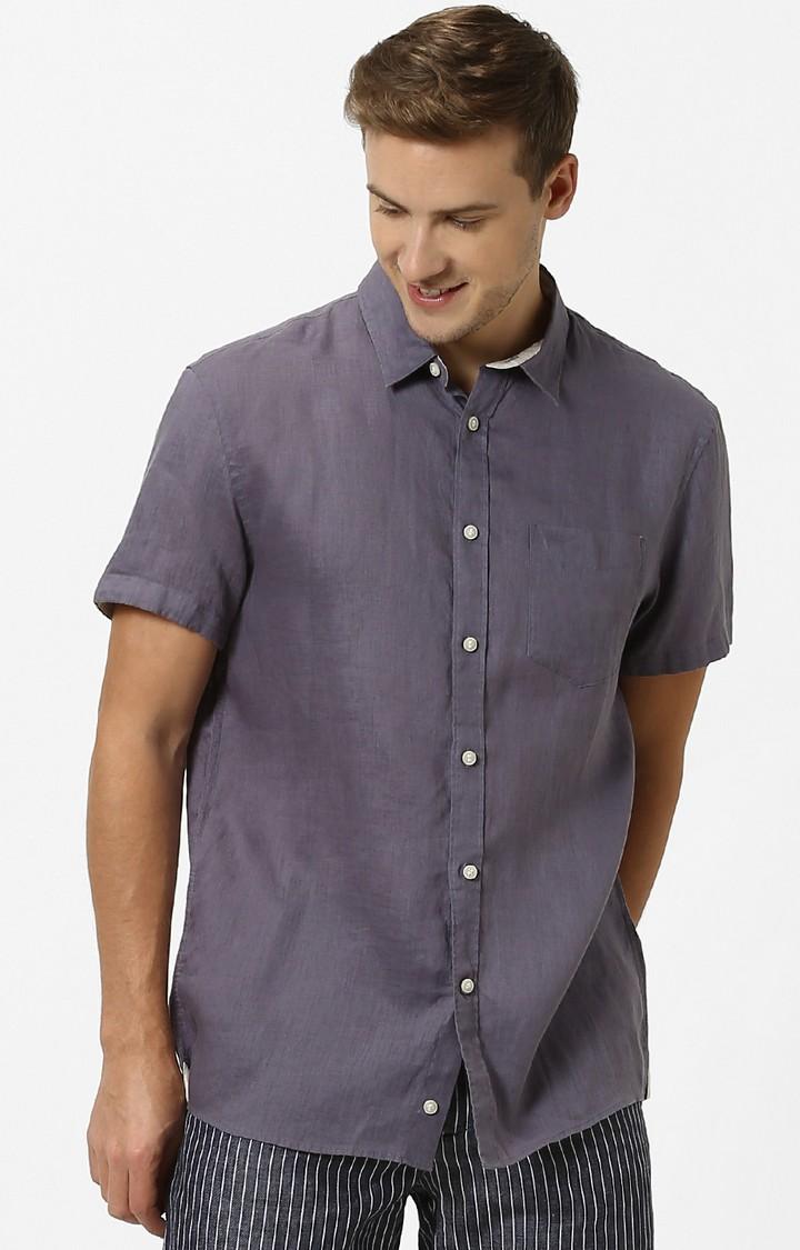 celio | Steel Grey Solid Regular Fit Casual Shirt