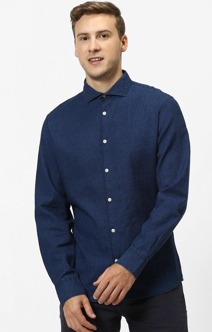 celio | Indigo Solid Slim Fit Casual Shirt