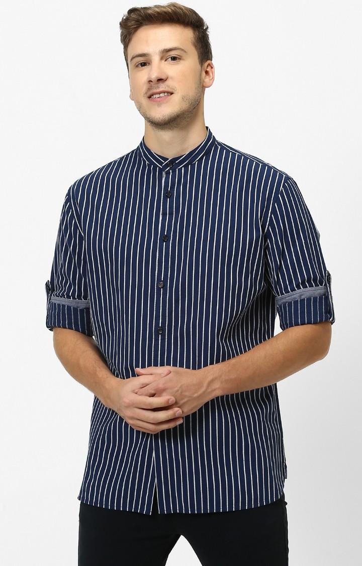 celio | Indigo Striped Regular Fit Casual Shirt