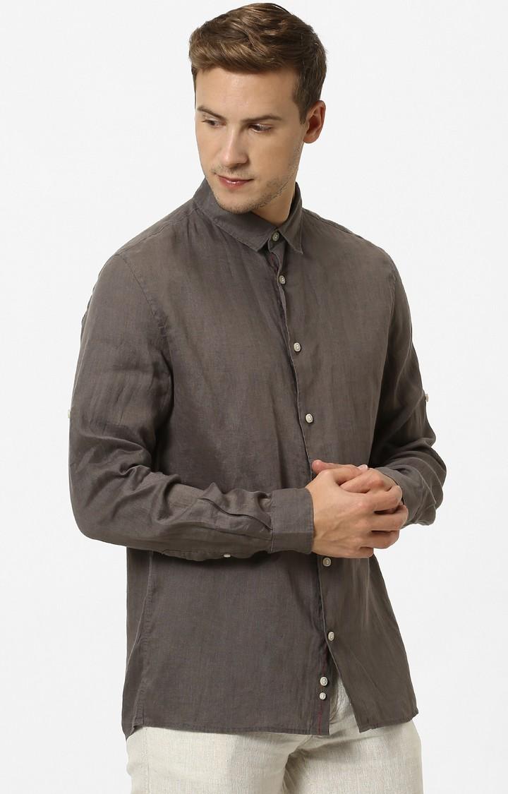 celio   Dark Khaki Solid Regular Fit Casual Shirt